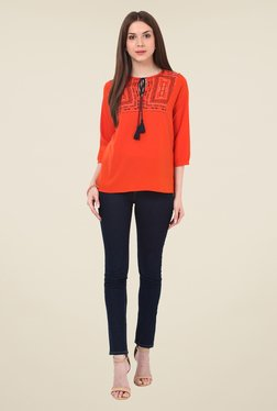 Rena Love Orange Embroidered Top
