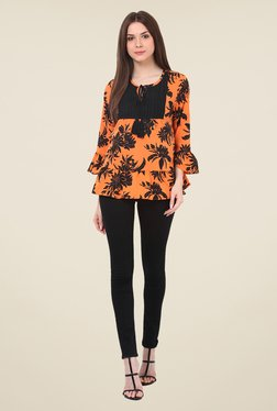 Rena Love Orange Floral Print Top