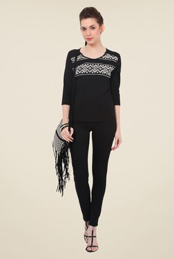 Rena Love Black Embroidered Top