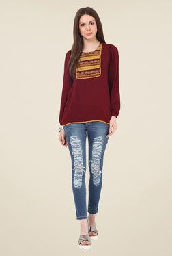 Rena Love Maroon Embroidered Top