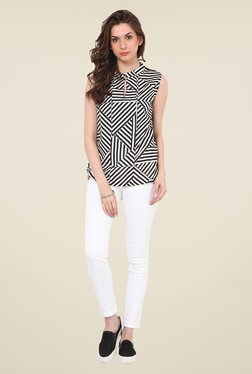 Rena Love Black & White Striped Top