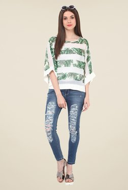 Rena Love Green & White Tropical Print Top