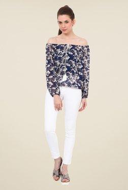 Rena Love Navy & Beige Floral Print Top