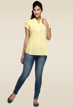 Loco En Cabeza Yellow Cotton Regular Fit Top