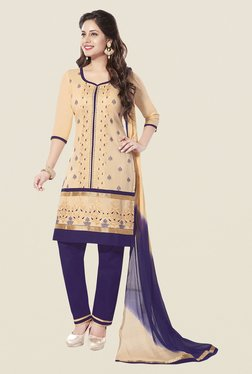 Ishin Beige & Purple Cotton Unstitched Dress Material