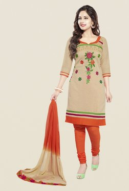 Ishin Beige & Orange Cotton Unstitched Dress Material