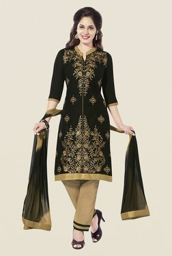 Ishin Black & Beige Cotton Unstitched Dress Material
