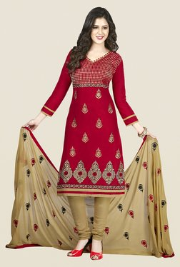 Ishin Red & Beige Cotton Unstitched Dress Material
