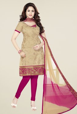 Ishin Beige & Pink Cotton Unstitched Dress Material