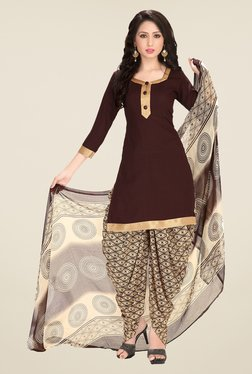 Ishin Brown & Beige Synthetic Unstitched Dress Material