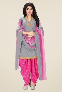 Ishin Grey & Pink Synthetic Unstitched Dress Material - Mp000000000942260