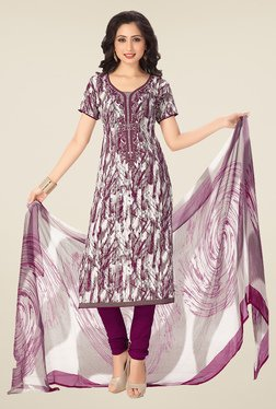 Ishin Off White & Purple Synthetic Unstitched Dress Material