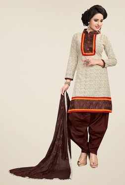 Ishin Beige & Brown Synthetic Unstitched Dress Material
