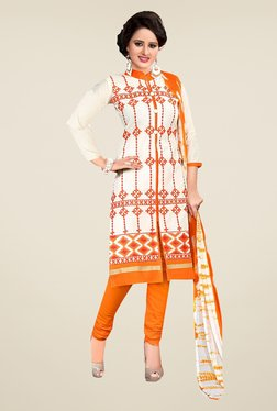 Ishin Off White & Orange Synthetic Unstitched Dress Material