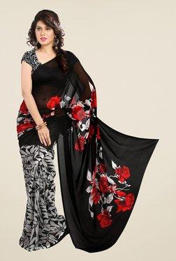 Ishin Black Printed Georgette Saree