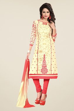 Ishin Beige & Peach Synthetic Unstitched Dress Material