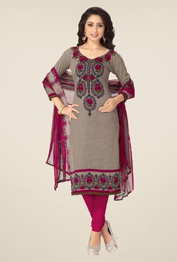 Ishin Grey & Pink Synthetic Unstitched Dress Material