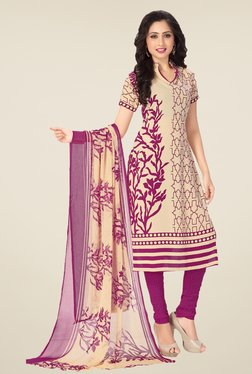Ishin Beige & Purple Synthetic Unstitched Dress Material