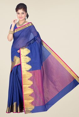 Ishin Blue Printed Cotton Silk Saree