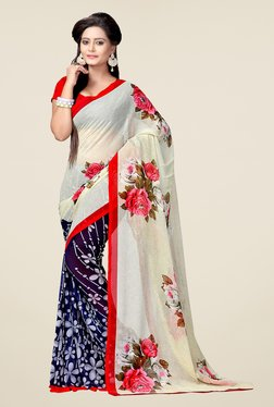 Ishin Navy & Off White Floral Print Chiffon Saree