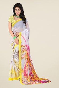 Ishin White & Yellow Printed Chiffon Saree
