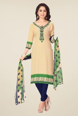 Ishin Beige & Navy Synthetic Unstitched Dress Material