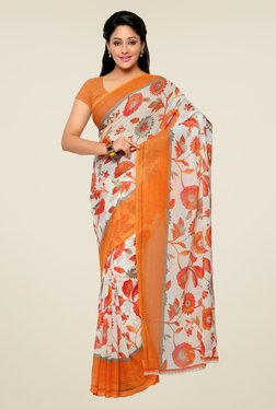 Triveni Off White & Orange Floral Print Faux Georgette Saree