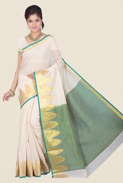 Ishin Teal & Off White Printed Cotton Silk Saree