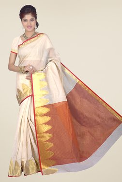 Ishin Red & Off White Printed Cotton Silk Saree