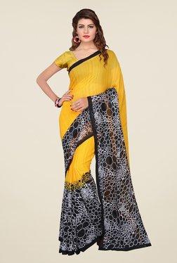 Ishin Yellow & Black Printed Georgette Saree