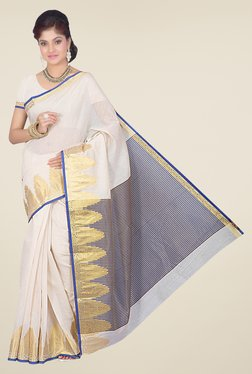 Ishin Blue & Off White Printed Cotton Silk Saree