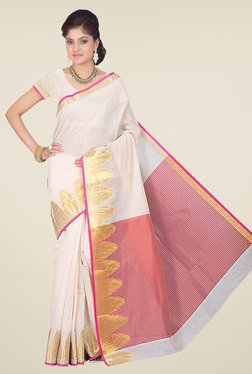 Ishin Pink & Off White Printed Cotton Silk Saree