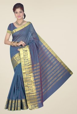 Ishin Navy Printed Cotton Silk Saree