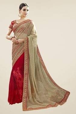 Triveni Red & Beige Embroidered Faux Georgette Net Saree