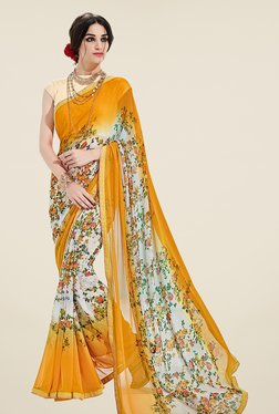 Ishin Yellow & Off White Floral Print Georgette Saree