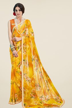 Ishin Yellow Floral Print Georgette Saree