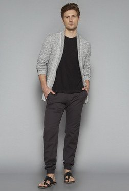 ETA By Westside Black Slim Fit Textured T Shirt