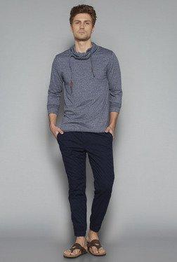 ETA By Westside Indigo Slim Fit Textured T Shirt
