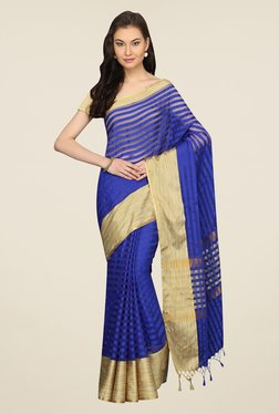 Pavecha's Blue Striped Cotton Polyblend Banarasi Saree