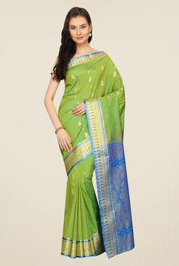 Pavecha's Green & Blue Printed Silk Kanjivaram Saree