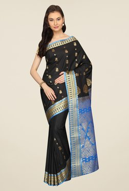 Pavecha's Black & Blue Printed Silk Kanjivaram Saree