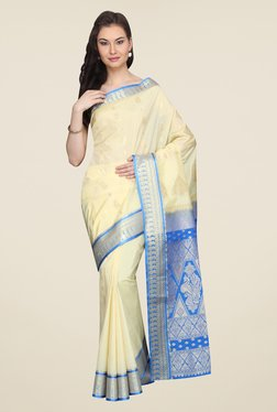Pavecha's Cream & Blue Printed Silk Kanjivaram Saree