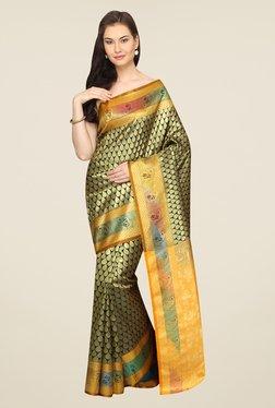 Pavecha's Black & Yellow Printed Cotton Banarasi Saree