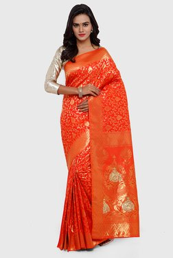 SMAYANA Orange Printed Banarasi Silk Saree