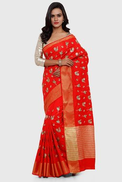 SMAYANA Orange Embroidered Silk Saree
