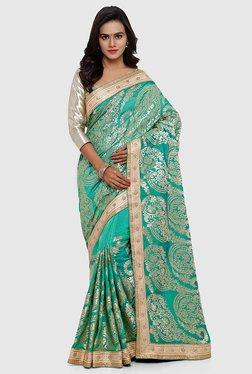 SMAYANA Teal Embroidered Banarasi Silk Saree