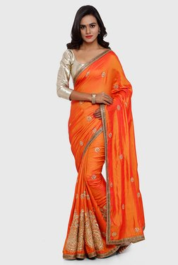 SMAYANA Orange Embroidered Paper Silk Saree
