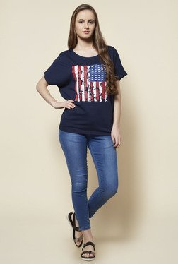 Zudio Navy Graphic Print T Shirt