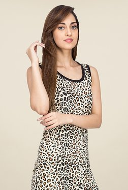 Nuteez Beige Animal Print Tank Top