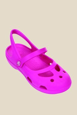 Crocs Neon Magenta Mary Jane Clogs